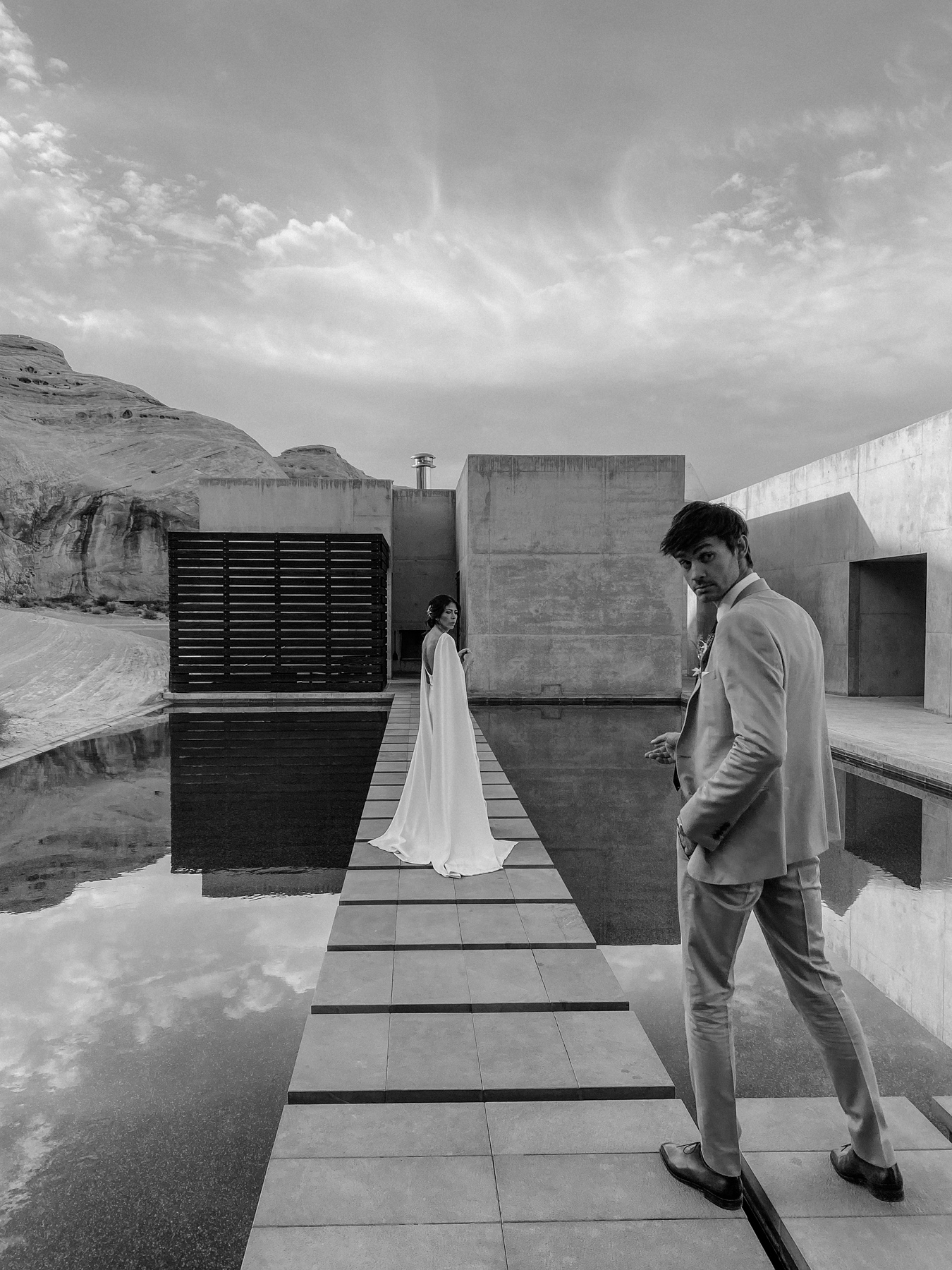 Amangiri Resort Wedding shows bride and groom on famous architecture